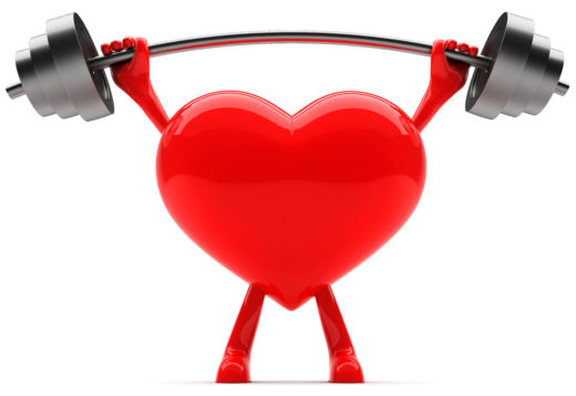 Heart shaped mascot lifting weight